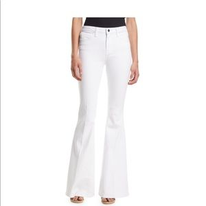 L'Agence Solana White High-Rise Flare Button Jeans